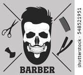 razors and skull with a beard... | Shutterstock . vector #548521951