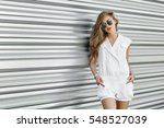 fashion style girl in sunglasses | Shutterstock . vector #548527039