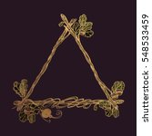 Triangular Golden Frame Of Oak...
