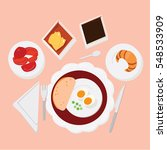 breakfast set menu. vector... | Shutterstock .eps vector #548533909