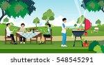 men and women are enjoying a... | Shutterstock .eps vector #548545291