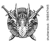 god odin illustration in tattoo ... | Shutterstock .eps vector #548547445
