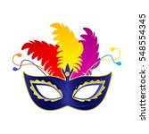 carnival mask with feathers.... | Shutterstock .eps vector #548554345