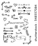 Set of hand drawn doodles for Valentine's Day isolated on white background.Vector illustration.