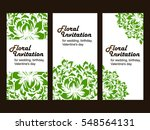 invitation with floral... | Shutterstock . vector #548564131