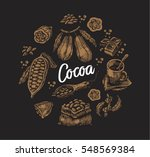 hand drawn set of colored cocoa ... | Shutterstock .eps vector #548569384