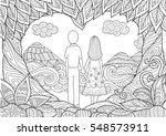 a couple holding hand spending... | Shutterstock .eps vector #548573911