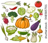 set of vegetables in a cartoon... | Shutterstock .eps vector #548585701