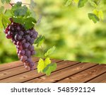 Red Grape Bunch With Blurry...