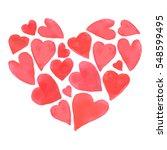 watercolor happy valentines day ... | Shutterstock .eps vector #548599495
