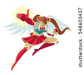 happy powerful anime girl... | Shutterstock .eps vector #548603437