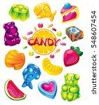 fruit jelly candy. vector set... | Shutterstock .eps vector #548607454