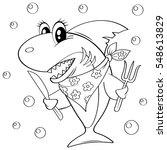 cute cartoon shark with fork... | Shutterstock .eps vector #548613829