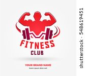 muscular man with barbell  logo ... | Shutterstock .eps vector #548619451