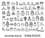 set of woman clothes icons ...