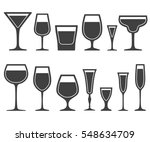 set of wine glasses icons... | Shutterstock . vector #548634709