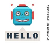 head retro robot smiles and... | Shutterstock .eps vector #548636569