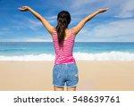 women happy holiday on beach... | Shutterstock . vector #548639761