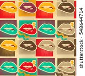 pop art lips copies seamless... | Shutterstock .eps vector #548644714