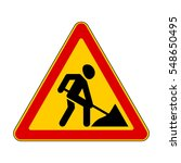 road signs. roadworks ahead.... | Shutterstock .eps vector #548650495