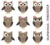 set of cute cartoon owls with... | Shutterstock . vector #548650519