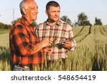 two farmer standing in a wheat... | Shutterstock . vector #548654419