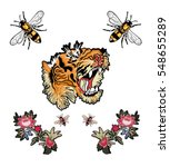 Stock vector embroidery patch flowers tiger bee illustration 548655289