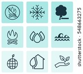 set of 9 eco icons. includes... | Shutterstock .eps vector #548663275
