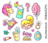 cool stickers set in 80s 90s... | Shutterstock .eps vector #548665291
