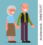 old people couple hold hand... | Shutterstock .eps vector #548670157