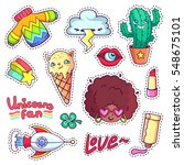 cool stickers set in 80s 90s... | Shutterstock .eps vector #548675101
