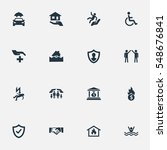 set of 16 simple fuse icons....
