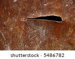 Gash In Rusted Metal Plate