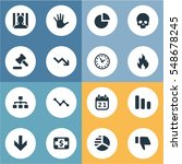 set of 16 simple impasse icons. ... | Shutterstock . vector #548678245