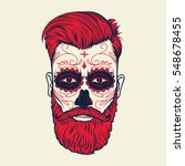 beard men face with sugar skull ... | Shutterstock .eps vector #548678455