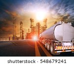 oil tanker truck and... | Shutterstock . vector #548679241