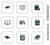 set of 9 simple reading icons.... | Shutterstock . vector #548680567