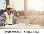 construction worker checking... | Shutterstock . vector #548684269
