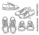vector set of sketch gumshoes.... | Shutterstock .eps vector #548691001