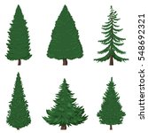 vector set of 6 cartoon pine... | Shutterstock .eps vector #548692321
