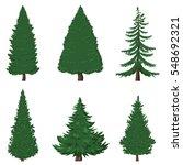 vector set of 6 cartoon pine... | Shutterstock .eps vector #548692321