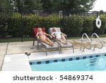 two bikini blond women poolside | Shutterstock . vector #54869374