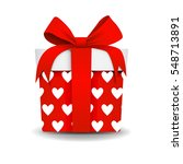 square 3d gift box with ribbon... | Shutterstock .eps vector #548713891