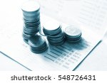 the coins on book bank  blue... | Shutterstock . vector #548726431