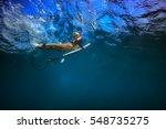 blonde girl in bikini with surf ... | Shutterstock . vector #548735275