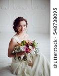 elegant charming young brunette ...   Shutterstock . vector #548738095