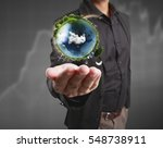 globe  earth in human hand ... | Shutterstock . vector #548738911