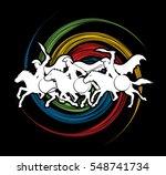 3 spartan warrior riding horses ... | Shutterstock .eps vector #548741734