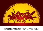 3 spartan warrior riding horses ... | Shutterstock .eps vector #548741737