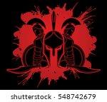 spartan warrior pose designed... | Shutterstock .eps vector #548742679